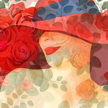 Jeune femme séduisante dans le chapeau sur fond floral Banque d'images - 83892975