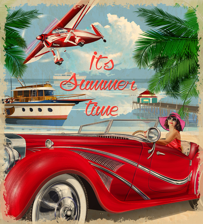 ビンテージの夏の休日の背景。幸せな女は、レトロな車を運転します。  イラスト・ベクター素材