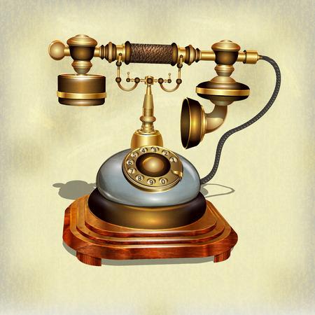 ヴィンテージ背景にレトロな電話  イラスト・ベクター素材