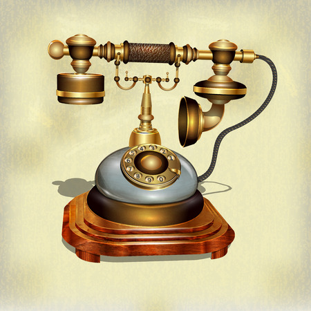 Retro telefoon op vintage achtergrond