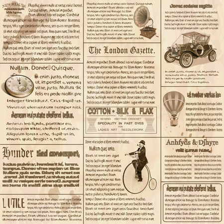 Old newspaper british background. Çizim