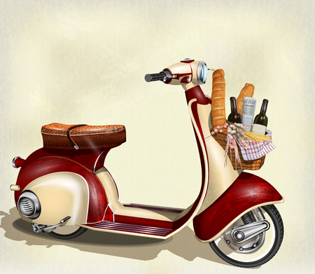 Old scooter with  basket of food for  weekend Ilustração