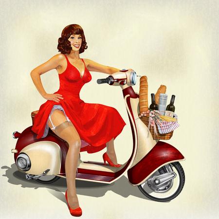 주말 및 핀 - 업 소녀에 대 한 음식 바구니와 함께 오래 된 스쿠터.