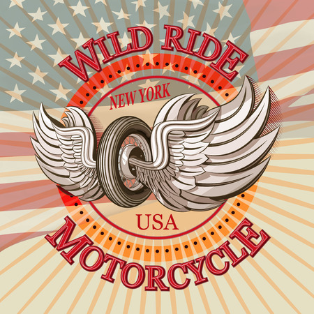 Vintage motorcycle label.America motorcycle typography.