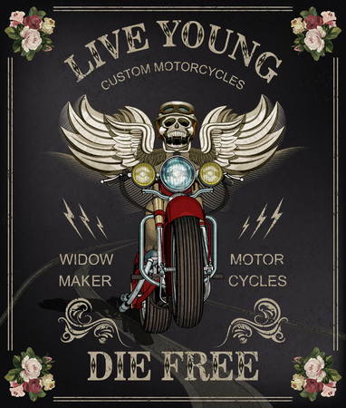 빈티지 오토바이 포스터 두개골 오토바이 헬멧의 착용입니다.