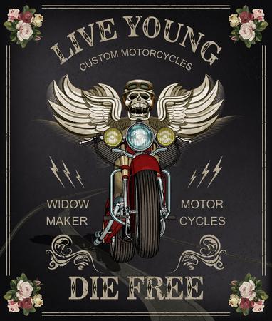 Vintage motorcycle poster skulls wearing  of motorcycle helmet. Vettoriali