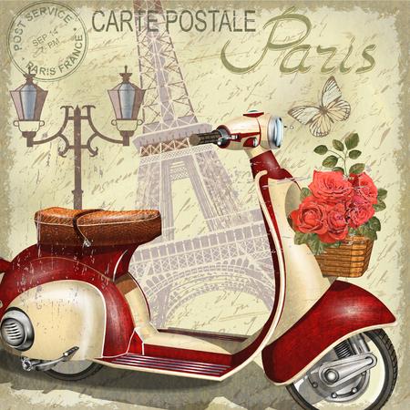 Paris vintage poster. Illustration