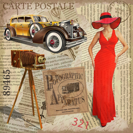 Vintage poster with vintage camera, pretty women and retro car, torn newspaper background.