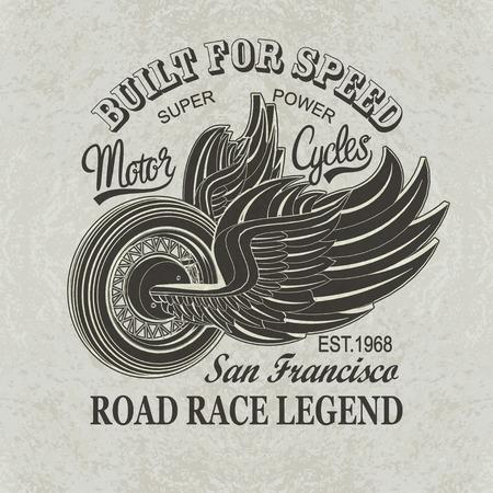 Vintage motorfiets San Francisco poster, t-shirt print.