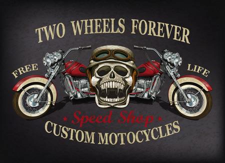 Vintage custom motorcycle  poster , t-shirt  print. 向量圖像