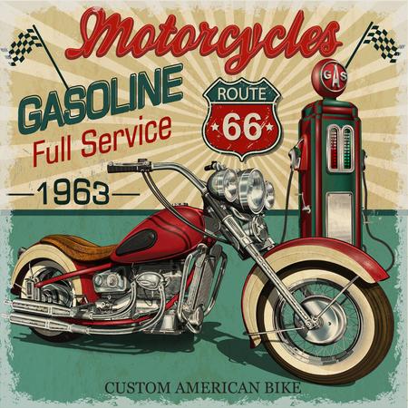 Cartel de la ruta 66 de la gasolina del vintage. Motocicletas clásicas del vector. Foto de archivo - 84996562