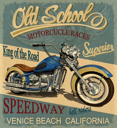 빈티지 오토바이 포스터, t- 셔츠 인쇄입니다. 스톡 콘텐츠 - 84996535
