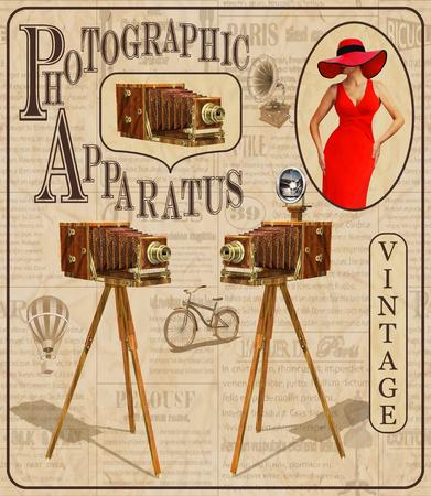 ビンテージ カメラと引き裂かれた新聞の背景にきれいな女性のビンテージ ポスター。