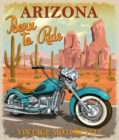 ビンテージ アリゾナ バイク ポスター。  イラスト・ベクター素材