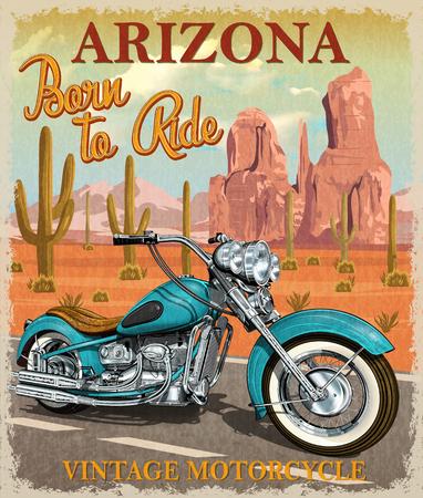 Affiche de moto Vintage Arizona. Banque d'images - 85234073