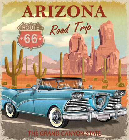 Vintage Arizona road trip poster. Stock Vector - 85234071