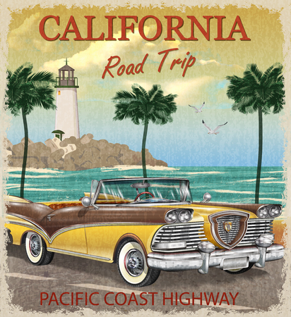 Vintage California road trip poster. Illustration