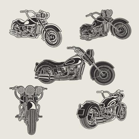 클래식 빈티지 오토바이 실루엣의 집합입니다.