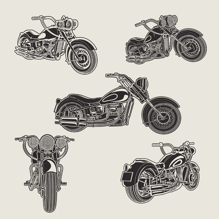 Set of classic vintage motorcycle silhouette.