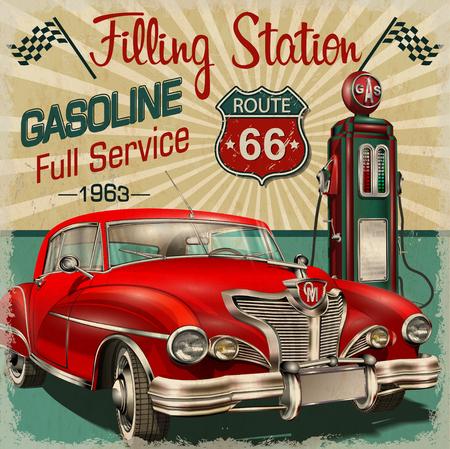 ガソリン スタンドのレトロなポスター  イラスト・ベクター素材