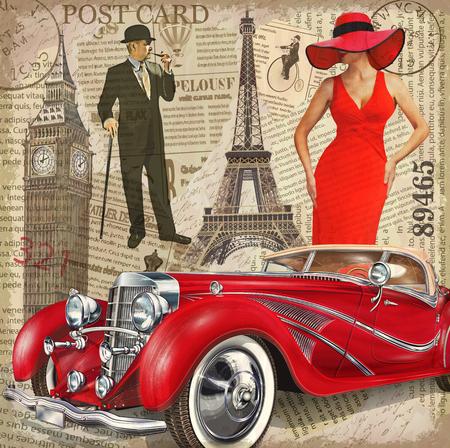 빈티지 포스터 파리, 런던 찢어진 된 신문 배경입니다.