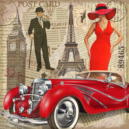Vintage poster Paris,London torn newspaper background.