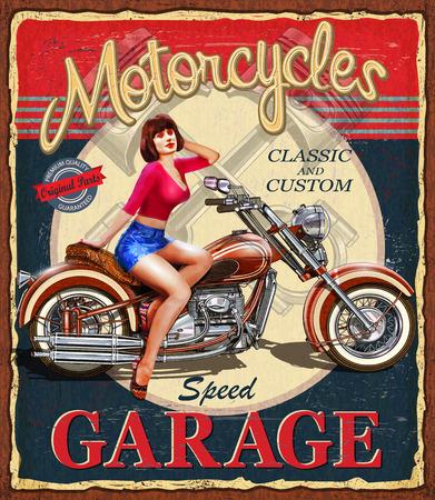 빈티지 오토바이 포스터입니다.