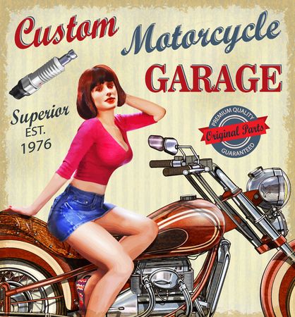 Vintage motorcycle poster Ilustrace