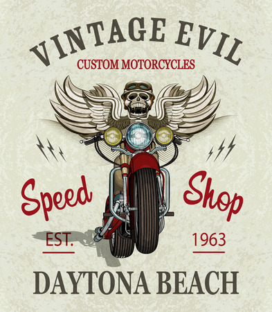 Vintage custom motorcycle  poster , t-shirt  print. Иллюстрация