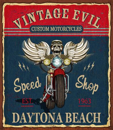 Vintage custom motorcycle  poster