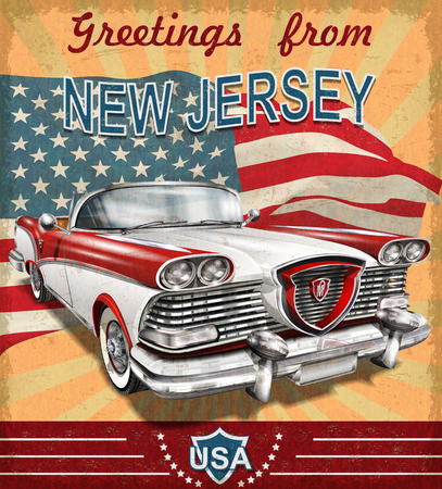 Vintage touristic greeting card with retro car.New Jersey. Illusztráció