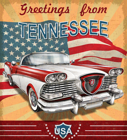Vintage touristic greeting card with retro car.Tennessee.