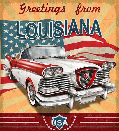 Carte de voeux touristique vintage avec voiture rétro. Louisiane. Vecteurs