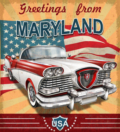 Vintage touristic greeting card with retro car.Maryland. Illustration