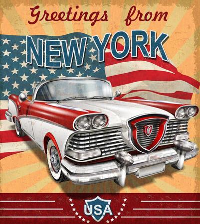 Vintage kartkę z życzeniami z turystycznym retro car.New Jorku.