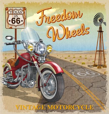 Affiche de moto Vintage Route 66 Texas.