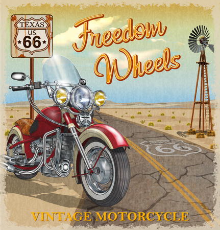 Vintage Route 66 Texas motorcycle poster. 向量圖像