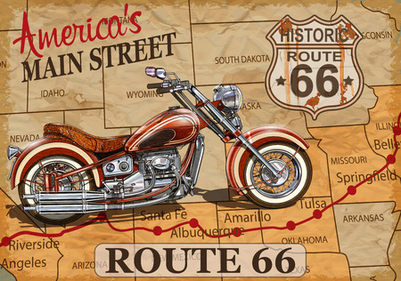 Vintage Route 66  motorcycle poster.