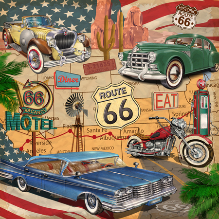Vintage Route 66 poster. Stock Illustratie