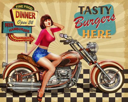 Diner  vintage poster  イラスト・ベクター素材