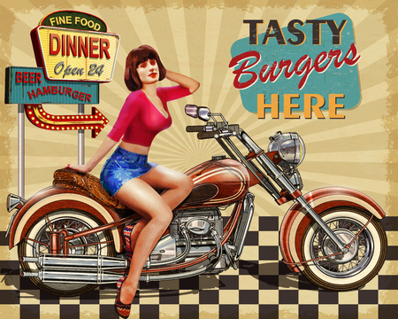 Diner  vintage poster Vettoriali