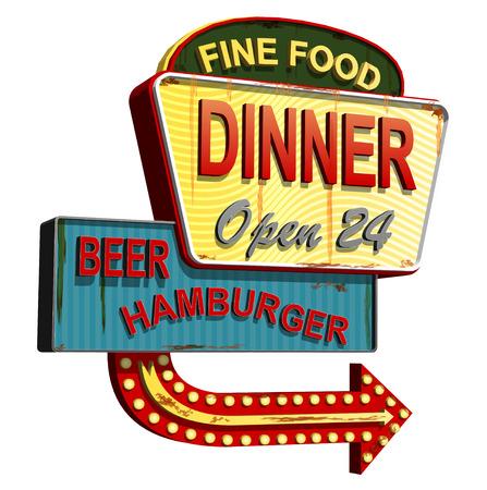 Diner old signage,vintage metal sign.