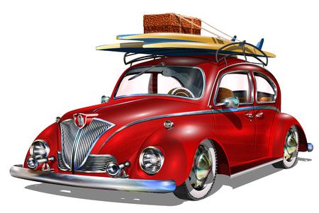 サーフボードとビンテージ車は。  イラスト・ベクター素材