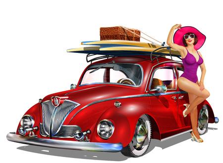 핀 - 업 소녀와 서핑 보드 빈티지 자동차입니다.