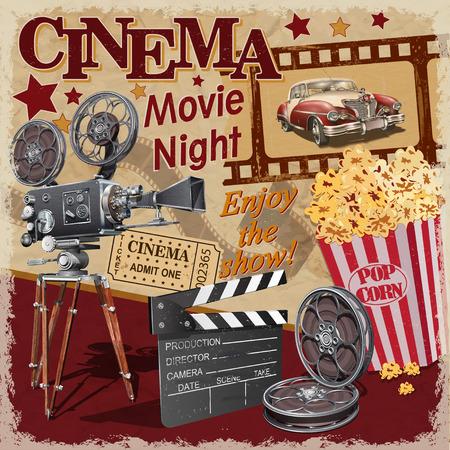 Cinema retro poster. Ilustração