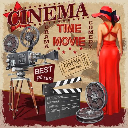 Bioscoop retro poster. Stock Illustratie