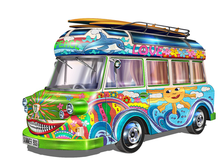 Retro bus met surfplanken Stock Illustratie