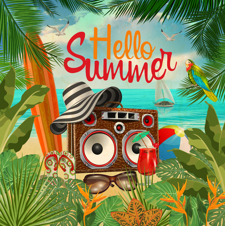 Summer tropical poster with tropical plants,tape recorder,surfboard,
