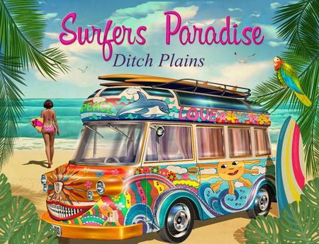Surfen Sie Plakat mit tragendem Surfbrett des Retro- Busses und des Mädchens. Standard-Bild - 87911476