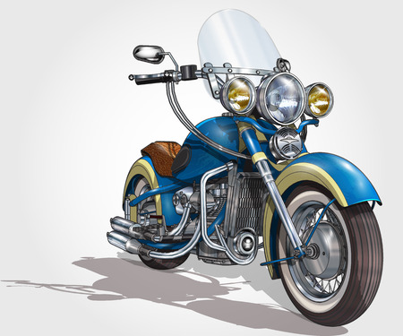 Classic vintage motorcycle. Ilustrace